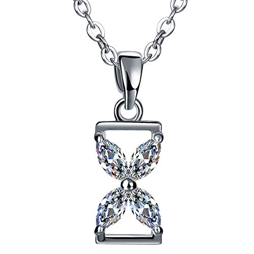 (monochef Natural Zircon Necklace, Healing Crystal Necklace, 18K White Gold Plated Earring Zircon Pendant, Mother Necklace, Gift for Women, Valentine's Day Hourglass)