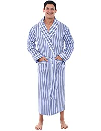 Mens Striped and Plaid Cotton Robe, Lightweight Woven...