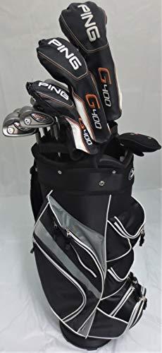(Ping Golf Mens Complete Set Driver, Wood, Hybrid, Irons, Putter Clubs & Cart Bag Stiff Flex)