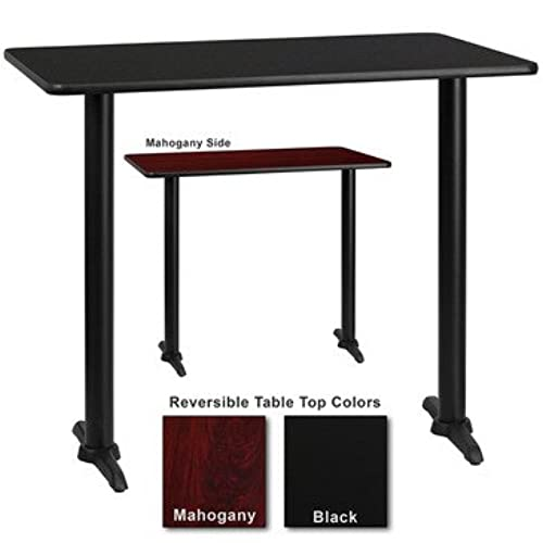 Flash Furniture 24 Inch X 42 Inch Rectangular Bar Table W/ Black Or  Mahogany Reversible Laminate Top
