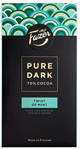 2 Bars x 95g of Fazer Pure Dark - Twist of Mint - 70% Cocoa - Original Finnish Dark Chocolate (Suomi)