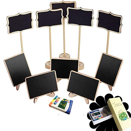Mini Chalkboard Set 10 Sets with Easel Stand, Place Cards Message Board For Party, Food Signs and Wedding Decorations
