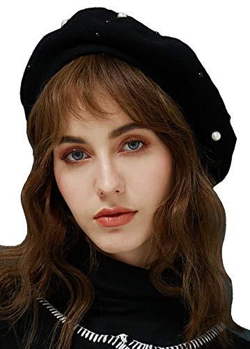 YI HENG MEI Women's Winter Warm Classic Faux Rabbit Fur Berets Hat Artist Cap,Black