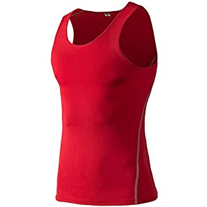 Findci Mens Quick drying Cool Sports Tight Sleeveless Shirt (L, Red)