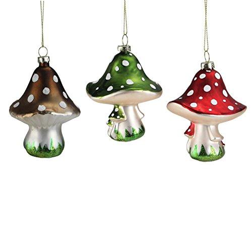 Set of 3 Red, Brown and Green Fairytale Mushroom Glass Christmas (Glass Ornament Mushroom)
