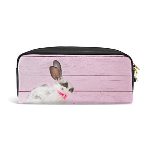 - ABLINK Easter Bunny and Eggs Pencil Pen Case Pouch Bag with Zipper for Travel, School, Small Cosmetic Bag