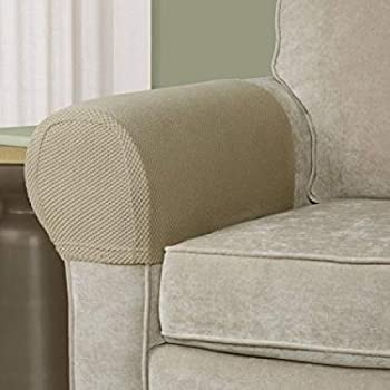 Charmant Pixel Stretch Fabric Furniture Armrest Cover, Set Of 2, Tan
