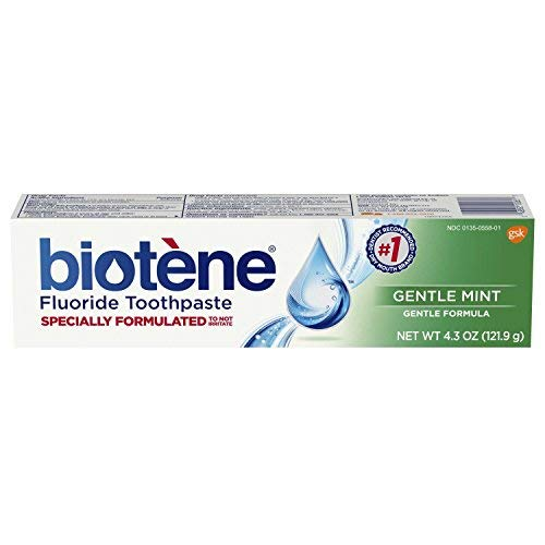 Biotene Fluoride Toothpaste Antibacterial Gentle Mint, 4.3 Ounces each, Pack of 2