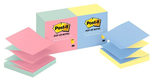 Post-it Pop-up Notes, Jaipur Colors, America's #1 Favorite Sticky Note, Designed for Pop-up Note Dispensers, 3 in. x 3 in, 12 Pads/Pack, (R330-U-ALT)