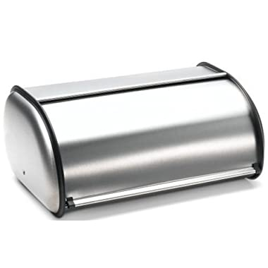 Brushed Stainless Steel Rolltop 2-Loaf Capacity Bread Box, 16.5  X 10  X 8