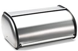 Brushed Stainless Steel Rolltop 2-Loaf Capacity Bread Box, 16.5\