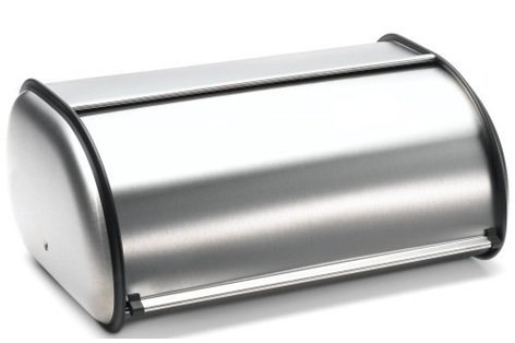 Brushed Stainless Steel Rolltop 2-Loaf Capacity Bread Box, 16.5