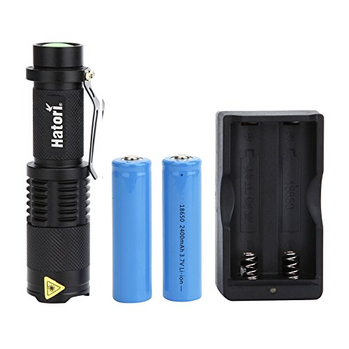 Hatori Rechargeable 18650 Flashlight Ultra Bright Handheld LED Flashlight Zoomable Focus 5 Light Modes Water Resistant Torch, Battery-Powered (Included) Tactical Flashlight with Charger, Black
