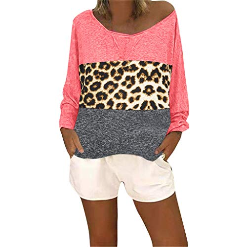 Londony❀♪ Women's Long Sleeve Patchwork Casual T-Shirts Blouse Tunic Tops Leopard Loose Fit Pullover Casual Top Pink