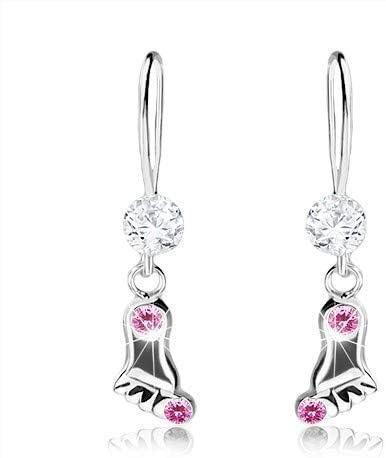 OrdoŠ Diamonds® Plata 925, cristales de Swarovski, superficie lisa y brillante, piedras claras, pendientes de plata 925, pierna, color rosa, 0,6 g