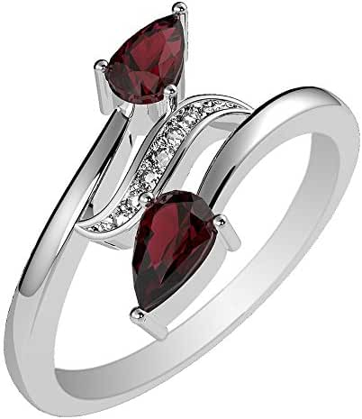 0.70ctw, Genuine Garnet 3x5mm Pear & Solid .925 Sterling Silver Rings