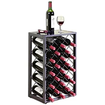 Mango Steam 23 Bottle Wine Rack with Glass Table Top, Pewter