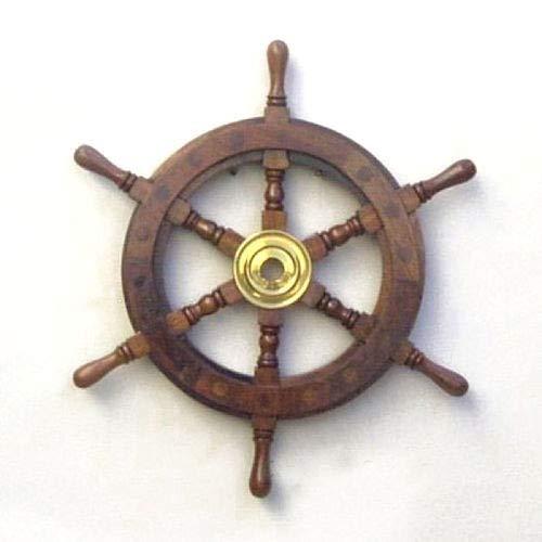 PiggiesC Teak Wood Ship's Wheel 12