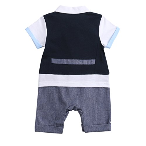 Baby Boys Outfits, Toddler Short Sleeve Romper Clothing with Plaid Cap & Vest (90(12-18 Month), navy-blue)