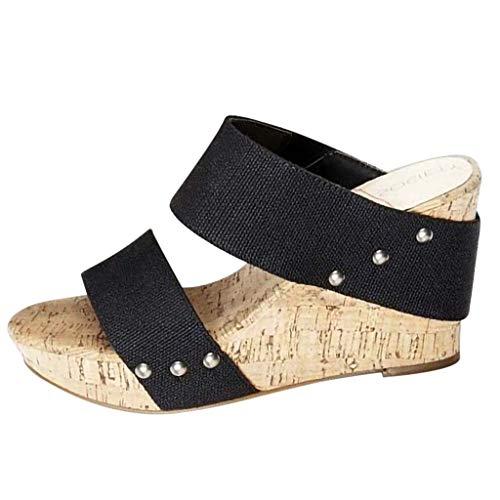 (Women's Wedge Sandal Summer Beach Open Toe Cutout Rivet PU High Heel Platform Pump Sandals (Black -5, US:7.0))