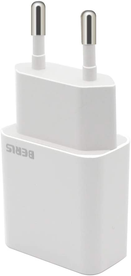 BERLS USB Chargeur, Universel Mural Secteur Adaptateur USB 1 Port (5V 2000mA) pour Samsung Galaxy S7 S8 S9, iPhone 5 6 7 8 X Max, Wiko, iPad, LG, HTC, Huawei, Xiaomi, ASUS, Nexus(Blanc) (Chargeur)
