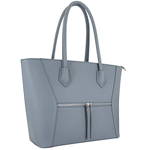 Study A4 Handbag Melissa Shopping Work Shopper Vanessa amp; Bag Leather Blue PU Women fv1HPqw