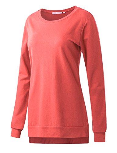 - Regna X Boho for Womens Ribbed Trim comfortlong Enough Purple Medium Side Splits Hem Tunic Sweatshirts