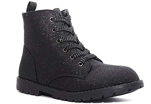 Charles Albert Girl's Glitter Boot Lace Up Low Heel Winter Shoes Toddler/Little Kids (8 M US Toddler, Black)