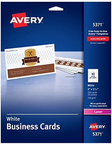 250 Cards Laser Printers 2 x 3.5 5371 Avery Printable Business Cards
