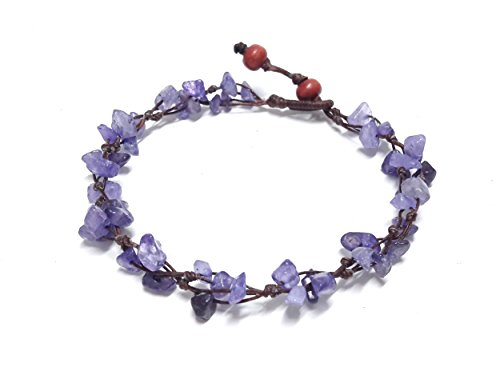 Purple Amethyst Color Bead Anklet – Beautiful 10 Inches Handmade Stone Anklet – Fashion Jewelry for Women