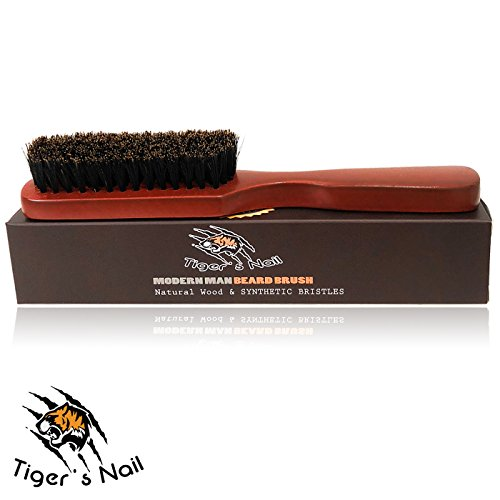 Tiger's Nail Premium Beard Brush For Men:100% Natural Wild BoarBristle And Ergonomic Dutch WoodHandle, For Untangling, Conditioning And Grooming Facial Hair And Mustache, Growth Stimulating Massage