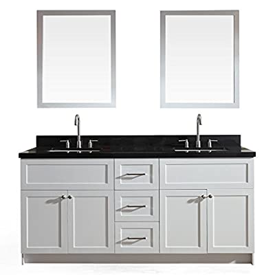 "Ariel Hamlet F073D-AB -WHT- 73"" Solid Wood Double Sink Bathroom Vanity Set In White with Black Granite Countertop"