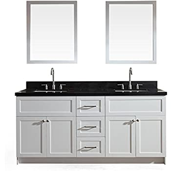 Ariel hamlet f073d ab wht 73 solid wood double sink bathroom vanity set in white with black for Solid wood double sink bathroom vanity