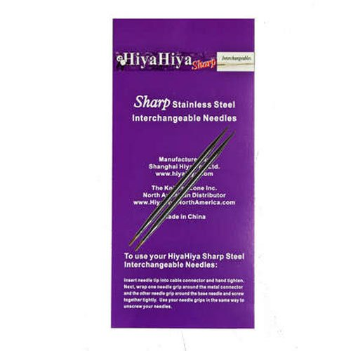 HiyaHiya Interchangeable Needle Tips 5-inch (13cm) Sharp Steel; Size US 7 (4.5mm) HISSTINTIP5-7 The KnittingZone Inc.