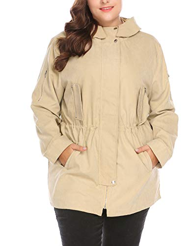 - Vpicuo Women's Plus Size Hoodie Outdoor Raincoat Casual Jacket Windbreaker Coat with Pockets