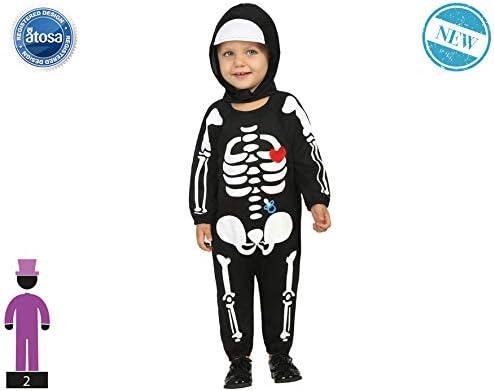 kostuum skelet, voor jongens, 61203, zwart + 24 maanden
