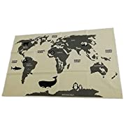 Habudda 100% Cotton Canvas Beach Blanket Baby Crawling Rugs Adventure World Map Game Play Mat Wall Decoration Map 56x36 Inch Washing Machine Available