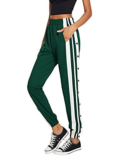 SOLY HUX Women's Sporty High Split Side Striped Joggers Snap Button Track Pants Green M