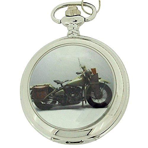 Boxx Gents White Dial Harley Motor Bike Pocket Watch on 12 Inch Chain Boxx96 ()
