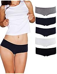 Empreferla - Braguitas Cortas para Mujer (5 Unidades), sin Costuras, algodón Transpirable, Varios Colores y Patrones