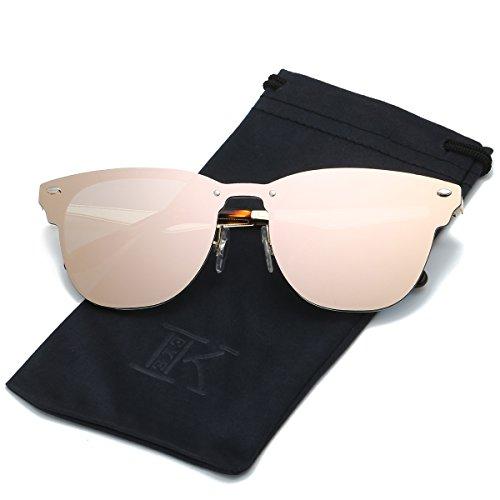 LKEYE Clubmaster Classic Unisex Sunglasses Futuristic Integral Rimless Lens LK1738 - Pink Rimless Sunglasses