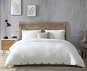 EXQ Home 100% Washed Cotton Duvet Cover Set Full/Queen Size Ivory 3 Pieces, Super Soft Hotel Collection Bedding Vintage Comforter Cover with Button Closure (Hypoallergenic, Breathable)