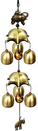 アンティーク 調 ドアベル 金属銅の風チャイムジュエリー象のペンダントヴィンテージ純銅ベル 呼び鈴 アイアン (Color : Brass, Size : One size)