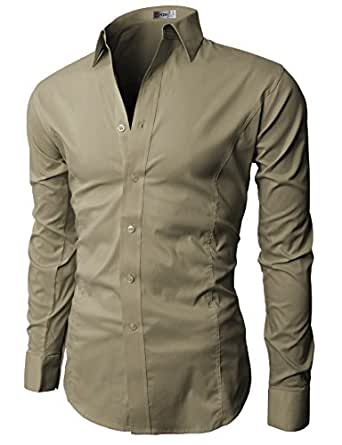 H2H Mens Wrinkle Resistant Slim Fit Dress Long Sleeve Shirts with Various Colors BEIGE US S/Asia M (JASK14)