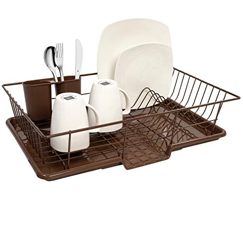 Sweet Home Collection Dish Rack Drainer 3 Piece Set with with Drying Board and Utensil Holder, 12