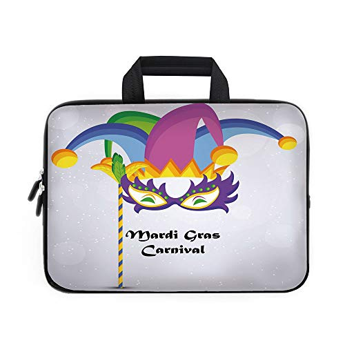 Bag Wheeled Icon Computer (Mardi Gras Laptop Carrying Bag Sleeve,Neoprene Sleeve Case/Mardi Gras Carnival Inscription with Traditional Party Icons Clown Costume Hat Decorative/for Apple Macbook Air Samsung Google Acer HP DELL L)