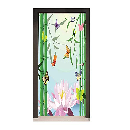 Butterflies 3D Murals Wall Stickers Butterflies on The Branch of Lotus Bamboo Flower Exotic Nature Mod Graphic Art Home Door Creative Decoration Multi,W23xH70