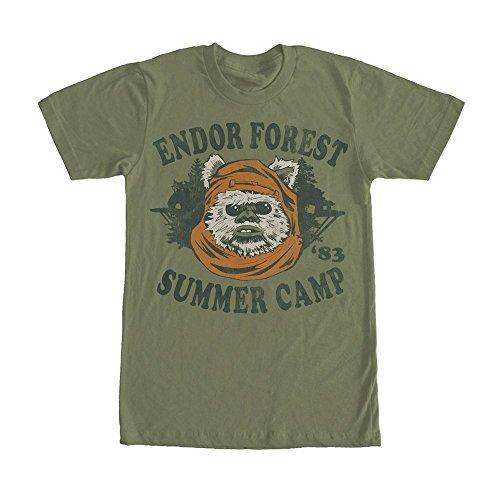 Star Wars Ewok Summer Camp Mens Graphic T Shirt - Dark Green (Large)