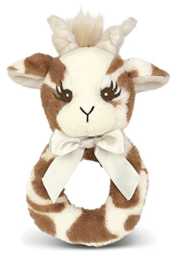 A Baby Giraffe Rattle - Bearington Baby Lil' Patches Plush Stuffed Animal Giraffe Soft Ring Rattle 5.5
