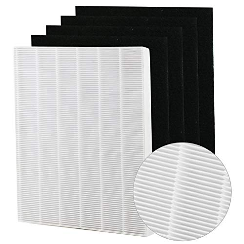 Replacement HEPA Filter with Carbon Pre Filter Compatible with Coway Mighty Air Purifier 1 HEPA + 4 Carbon Filters Compatible with 115115 Size 21 Filter A and WX Air Purifier (Best Replacement Filter For Winixes)
